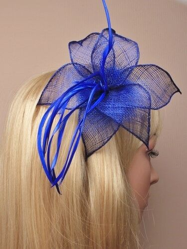 Large Royal Blue Feather Beak Clip Fascinator Hat Ladies Day Wedding Races 9