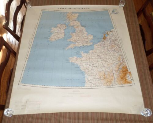 Fantastic, very large colored map of Great Britain & France (1954) Scarce!