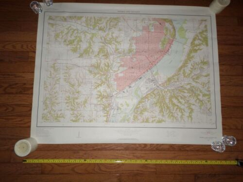 Fantastic, very large colored map of Peoria (1949) Scarce!