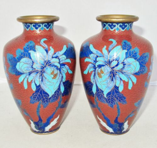"""Antique ? Pair of Chinese Cloisonne Brick Red Vases with Blue Flowers  (5.35"""")"""