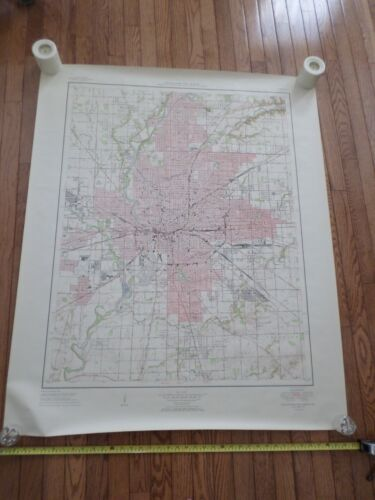 Fantastic, very large colored map of Indianapolis (1951) Scarce!