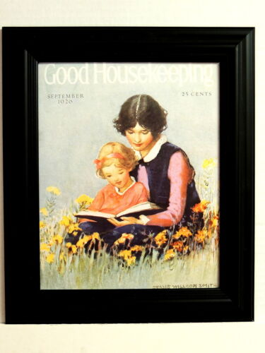 GOOD HOUSEKEEPING PICTURE VINTAGE SEPTEMBER 1920  LADY AND  CHILD FRAMED 8X10