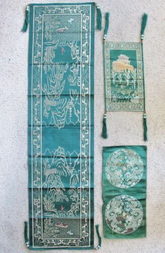 "3 Vintage Chinese Green Brocade Fabric Panels w/ Dragons & Landscapes  (51"")"