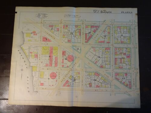 1892 Map of NW DC - Watergate Complex area -Rare large property specific detail.