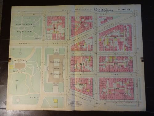 1892 Map of NW DC-Lafayette Sq/White House- Rare large property specific detail.