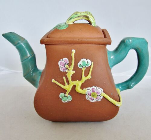 "Old Chinese YIXING Clay Teapot w/ Teal Enameled Bamboo Spout & Handle (7.75"")"