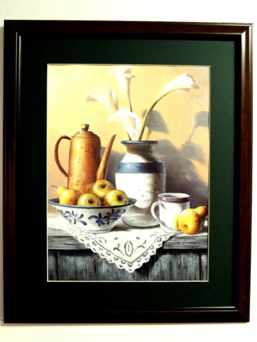 CROCKFRUIT PICTURE BOWL APPLES PEARS COFFEE POT CALLA LILIES MATTED FRAMED 16X20