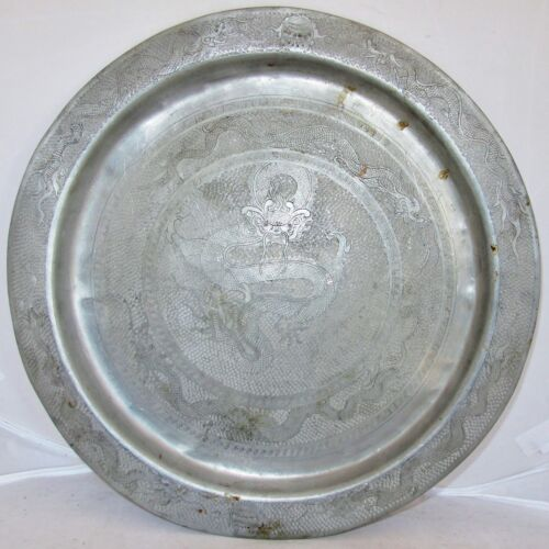 """13"""" Antique Chinese Pewter Charger Plate / Serving Tray with 7 Celestial Dragons"""