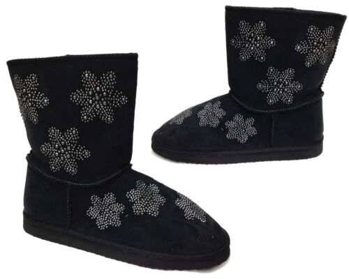 Ladies Womens Ankle Boots Boxed Warm Fleece Lined Winter Floral Shoes Size