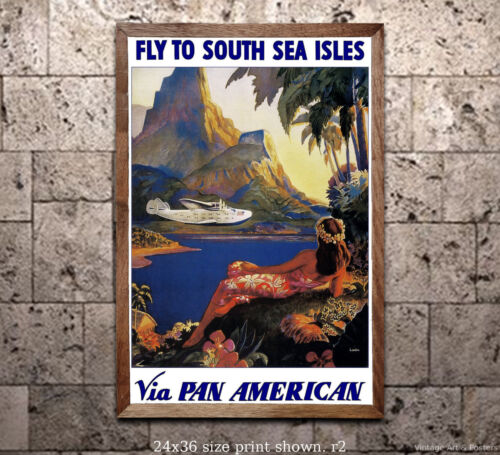 Vintage Airline Travel Poster - Pan Am - Fly to South Sea Isles