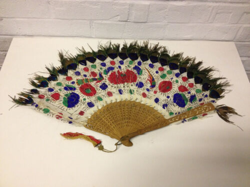 Antique Chinese Export Qing Dynasty / Republic Painted Peacock Feather Fan