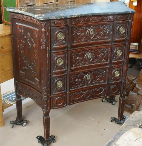 Antique English Carved Fruitwood Marble Top Commode/Dresser/Chest of Drawers