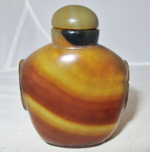 """Vintage ? 2.8"""" Chinese Brown / Burnt Yellow Honey Agate Snuff Bottle with Beasts"""