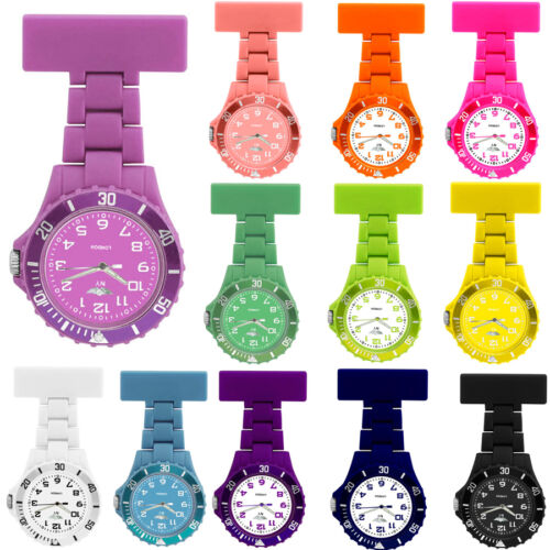 NEW WOMENS LADIES NURSE COLOURED RUBBER PLASTIC NURSES FOB WATCH BROOCH PIN <br/> For Paramedics,Doctors, Chefs, Outdoor Sports,UK Seller