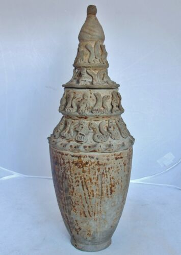 """SONG Dynasty? Antique Chinese Pottery Figural Vase or Temple Urn w/ Lid (14.25"""")"""