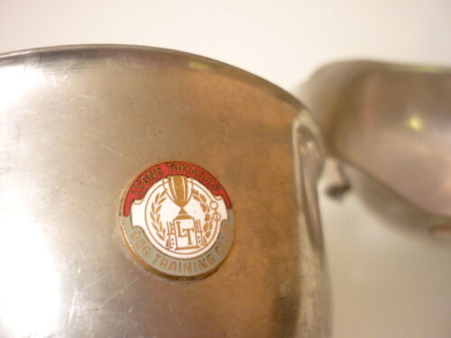 Vintage Set 2 - Gravy Boat, Bowl - Pewter - DOG TRAINING CLUB - Lyons NJ Emblem