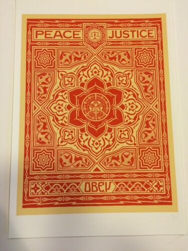 Shepard Fairey Peace And Justice Ornament Numbered OBEY Print Poster 13 X 19