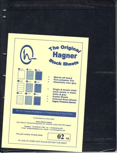 HAGNER ORIGINAL STOCK SHEETS PACK OF 10  2 ROWS  SINGLE SIDE