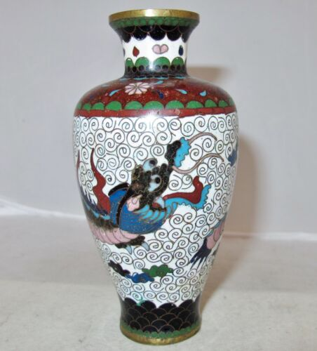 "Antique Japanese Meiji White Cloisonne Vase with Celestial DRAGON  (5.1"")"