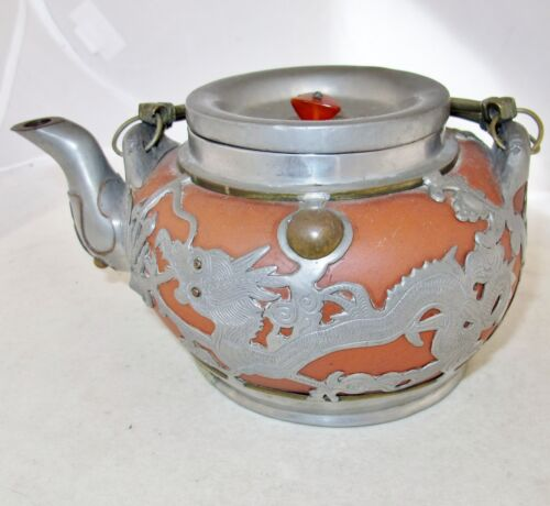 """7.5"""" Old Chinese YIXING Clay Teapot w/ Partial Pewter Covering of Dragons & Bats"""