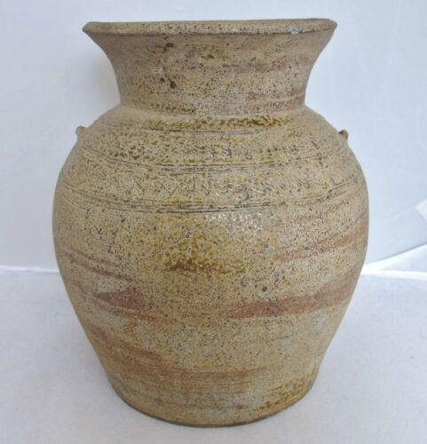 """7.4"""" CHOU Dynasty ? Antique Chinese Straw Yellow / Brown Glazed Earthenware Vase"""