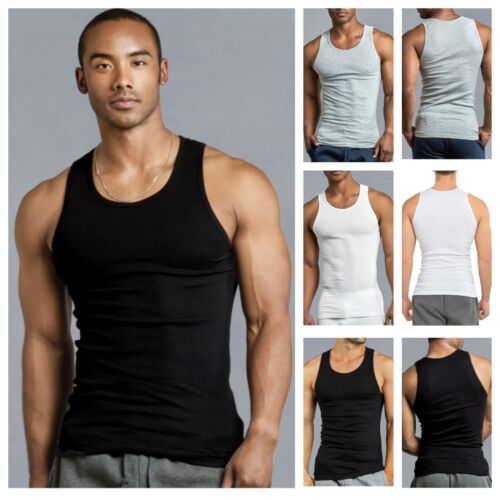 3 6 Mens Black Tank Top 100% Cotton A-Shirt Wife Beater Ribbed Pack Undershirt