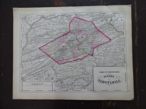 1872 Hand-Colored Map of PA/County of Schuylkill