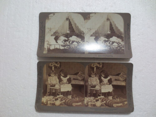 CATS WITH CHILDREN  STEREOVIEW PHOTOGRAPHS (2) BY UNDERWOOD & UNIVERSAL C. 1910
