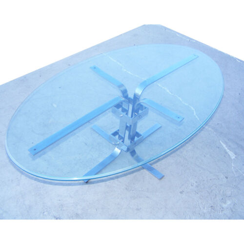 4ft Oval Chrome and Glass Industrial Coffee Table (MR7772)