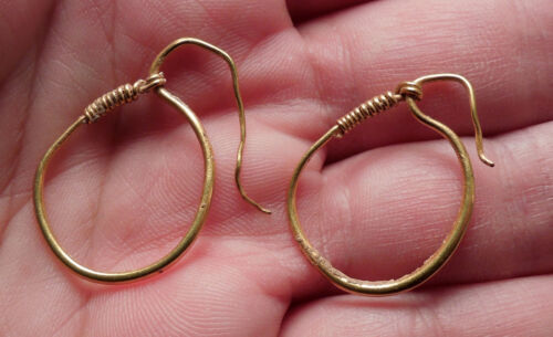Ancient Roman GOLD EARRINGS 1st-4thCenAD Artifact Jewelry Artifact RARE i47785
