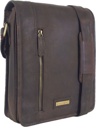 UNICORN Real Leather iPad, Kindle, Tablets & Accessories Messenger Bag Brown #6K