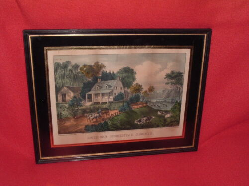 Original Currier & Ives Print American Homestead Summer Great Color Lithograph