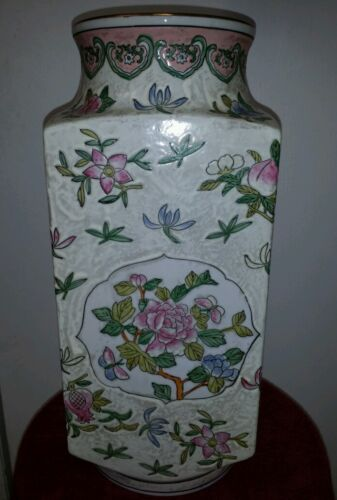 Antique Big Chinese Beautiful Hand Painted Famille Rose Porcelain Vase 15x6inch