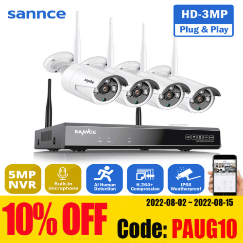 SANNCE Wireless 8CH 1080P NVR 2MP Outdoor Security Camera System IR Night Vision