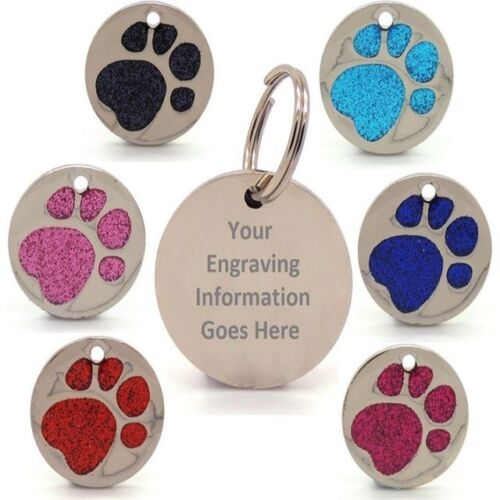 Personalised Engraved Glitter Paw Print Tag Dog Cat Pet ID Tags Reflective <br/> ✔ Trusted Top UK Seller ✔Diff Sizes & Colours✔FREE P&P✔