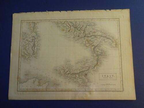 NICE, Hand-Colored Map of ITALY, South Part. / Engraved by S. Hall, Circa 1860