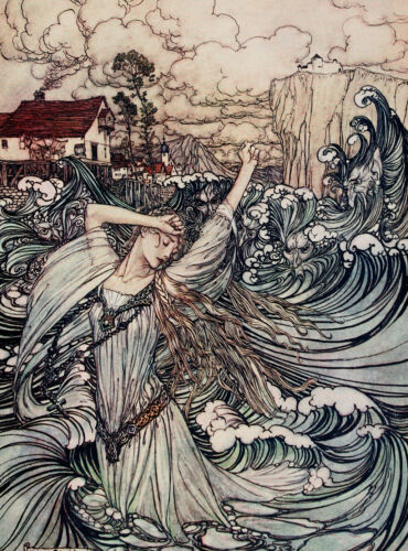 "Arthur Rackham : ""Undine Plunges into the Danube"" Painting Real Canvas Art Print"