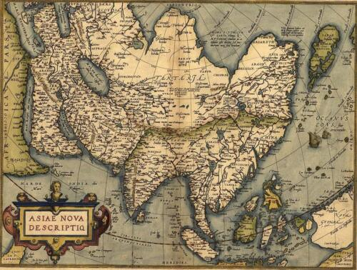Map of Asia, China,Japan ,India 1570 by Abraham Ortelius Vintage Canvas Print