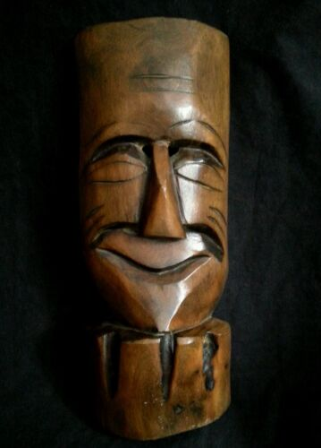Antique carved wood mask 9.75""