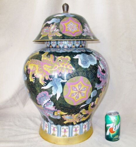"""HUGE 24.5"""" Vintage Chinese Cloisonne Ginger Jar with Celestial Clouds & Foo Dogs"""
