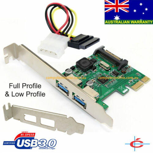 Low Profile & Full Profile USB 3.0 PCI-E PCI-Express 2 Ports Card, NEC Chipset