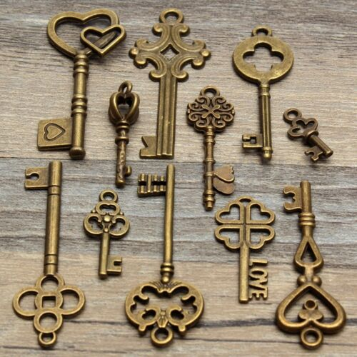 11Pcs Assorted Antique Vintage Old Look Skeleton Keys Bronze Steampunk Pendants