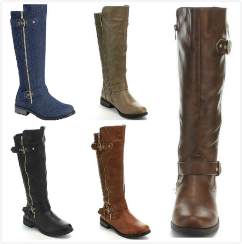 NEW Women's Hot Fashion Knee High Quilted Riding Flat Heel Boots Faux Leather