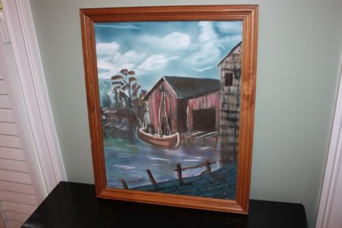 1990 Original Signed Painting Boat House Lake Ominous 22 x 18 oil Storm Framed