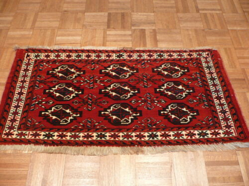 2'2 X 4 Hand Knotted Antique Bokara Oriental Rug With Camel Hair G1963