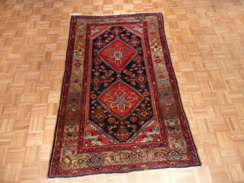 4'4 X 7'2 Hand Knotted Blue Persian Antique Hamadan Rug Veg Dyes G1515