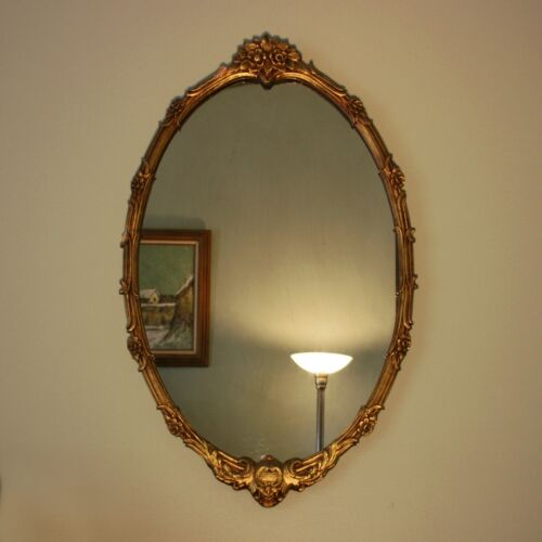 "Vtg 35"" x 21"" Oval Gilt Gold Hollywood Regency Neoclassical Wood Wall Mirror"