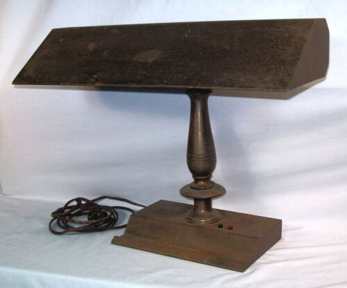 Vtg Metal Desk Piano Lamp Heavy Antique Industrial Bronze Art Deco Old