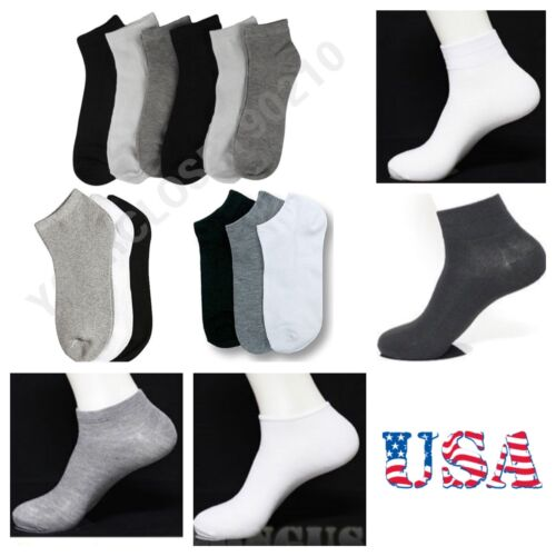 Mens Womens 9-11 10-13 Soft Ankle Cut Sport Socks Lot White Grey Black Unisex