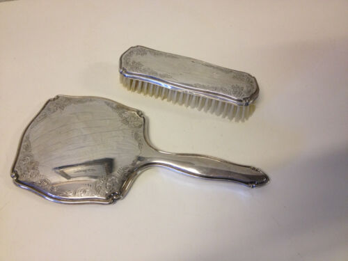 Vtg Possibly Antique German Hermann Bauer 835 Silver Mirror & Brush Vanity Set
